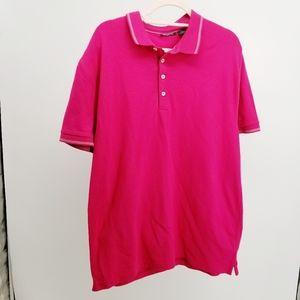 Clairborne red pink polo shirt men Sz XL